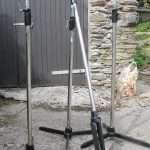 Rank Strand folding cast base lighting stands. Extends up to 2.0m. £65.00 each + carr