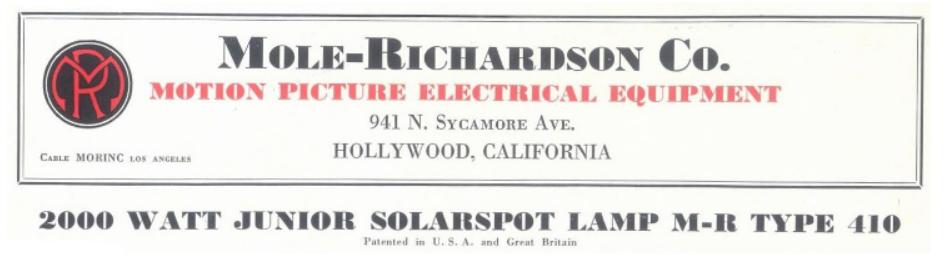 Mole-Richardson Type 410 Solar Spot theatre light